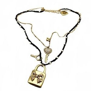 Betsey Johnson Heart $ Lock Collection Necklace